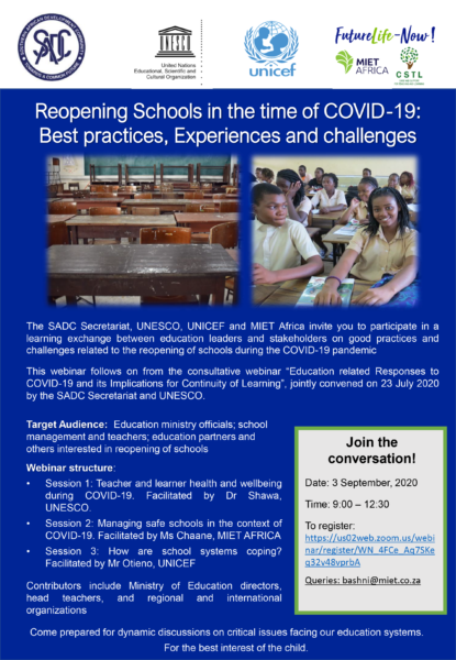 You are Invited! Webinar –  3 September |Reopening of Schools